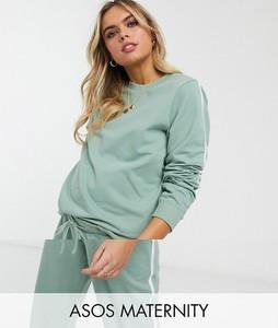 ASOS DESIGN Maternity – Dresowe joggersy z organicznej bawełny z kontrastującym wiązaniem-Zielony
