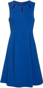 Niebieska sukienka Smashed Lemon midi rozkloszowana z okrągłym dekoltem