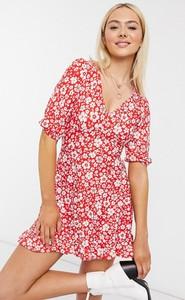 Czerwona sukienka Miss Selfridge mini z krótkim rękawem