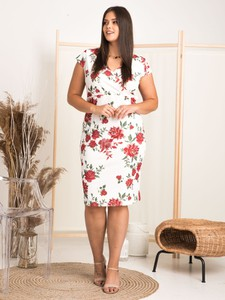 Sukienka KARKO mini w stylu casual z dekoltem w kształcie litery v
