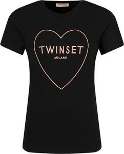 Czarny t-shirt Twinset z krótkim rękawem