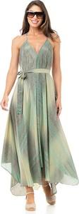 Zielona sukienka Peace & Love maxi na ramiączkach z dekoltem w kształcie litery v