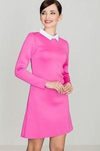 Różowa sukienka LENITIF z długim rękawem z kołnierzykiem