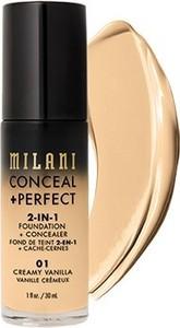 Milani, Conceal + Perfect 2-in-1 Foundation + Concealer, kryjący podkład do twarzy, 01 Creamy Vanilla, 30 ml