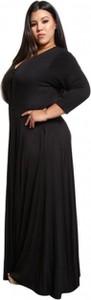 Czarna sukienka noshame.pl z okrągłym dekoltem maxi z długim rękawem