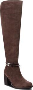 Brązowe kozaki Sergio Bardi na obcasie za kolano ze skóry