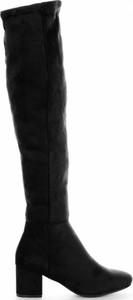 Czarne kozaki Belluci ze skóry ekologicznej za kolano