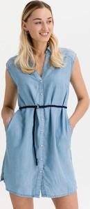 Niebieska sukienka Pepe Jeans mini z dekoltem w kształcie litery v