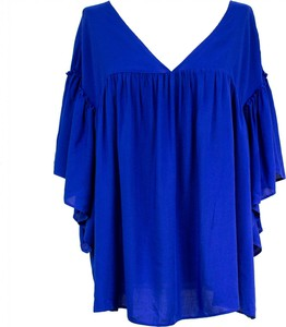Niebieska bluzka Asos z dekoltem w kształcie litery v