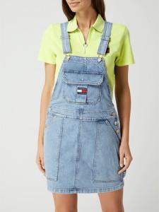 Niebieska sukienka Tommy Jeans z bawełny mini z krótkim rękawem