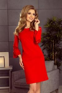 Czerwona sukienka NUMOCO z długim rękawem mini z okrągłym dekoltem