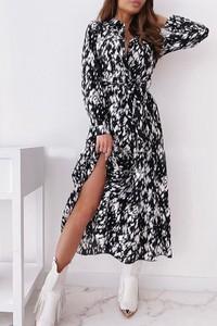 Sukienka IVET z dekoltem w kształcie litery v z długim rękawem maxi