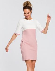 Różowa sukienka MOE mini z dzianiny z krótkim rękawem