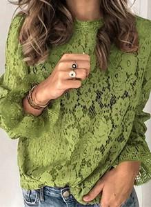 Zielona bluzka Arilook w stylu boho z długim rękawem