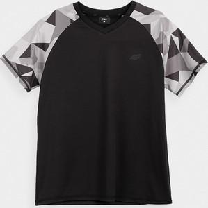 Czarna koszulka dziecięca 4F z dzianiny z krótkim rękawem
