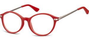 Sunoptic Okulary dziecięce zerówki okrągłe lenonki AK46 czerwone