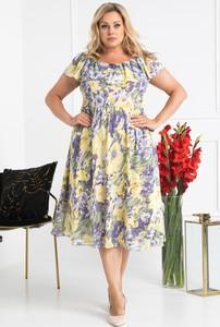 Sukienka KARKO z szyfonu hiszpanka z krótkim rękawem