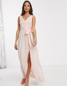 Różowa sukienka Little Mistress z dekoltem w kształcie litery v maxi