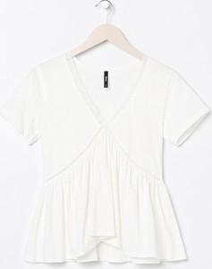 Bluzka Sinsay w stylu casual z okrągłym dekoltem z krótkim rękawem
