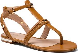 910e4e5856605 Brązowe sandały Aldo z klamrami ze skóry ekologicznej z płaską podeszwą