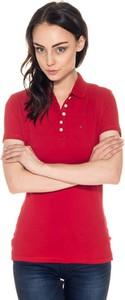 Czerwona bluzka Hilfiger Denim z kołnierzykiem w stylu casual
