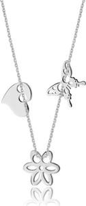Caviallo Srebrny naszyjnik z serduszkiem, kwiatkiem i motylkiem
