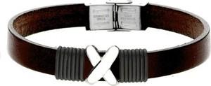 Manoki BA730K brązowa bransoletka męska z symbolem X LEATHER