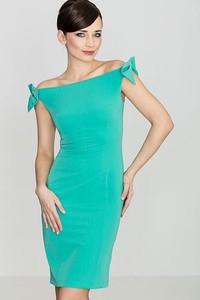 Turkusowa sukienka LENITIF z krótkim rękawem midi