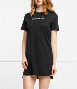 Czarna sukienka Calvin Klein w stylu casual z krótkim rękawem z okrągłym dekoltem