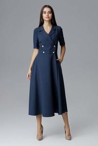 Sukienka Figl z kołnierzykiem z długim rękawem