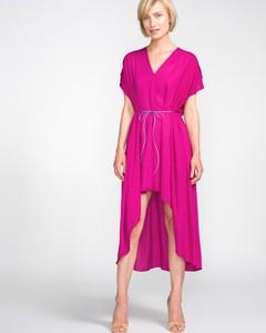 Różowa sukienka Jakub Polanka x Bibloo midi z krótkim rękawem
