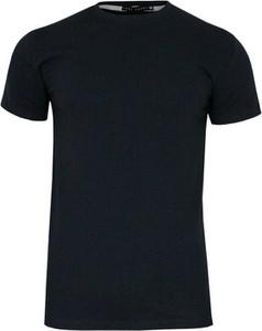 Granatowy t-shirt Just yuppi z tkaniny z krótkim rękawem
