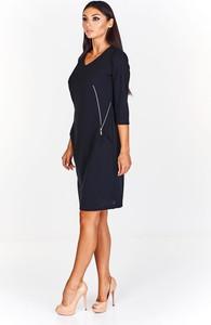Czarna sukienka Fokus z dzianiny midi z długim rękawem