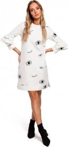 Sukienka MOE mini z bawełny z długim rękawem