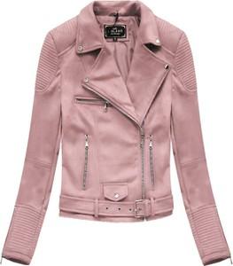 Różowa kurtka Libland z zamszu krótka
