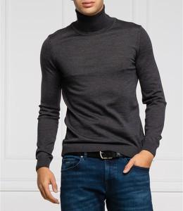 Czarny sweter Hugo Boss z golfem z wełny