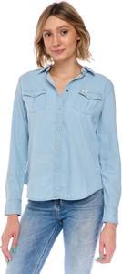 Niebieska koszula Lee z jeansu z kołnierzykiem w stylu casual
