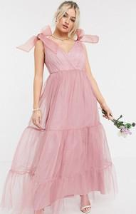 Różowa sukienka Asos z krótkim rękawem z dekoltem w kształcie litery v