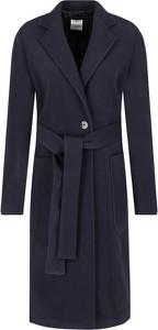 Granatowy płaszcz BOSS Casual z wełny