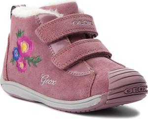 Fioletowe buty dziecięce zimowe Geox z zamszu