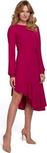 Sukienka Makover z tkaniny z długim rękawem