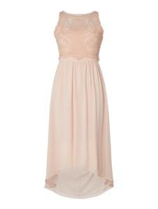 Różowa sukienka Esprit z szyfonu z okrągłym dekoltem
