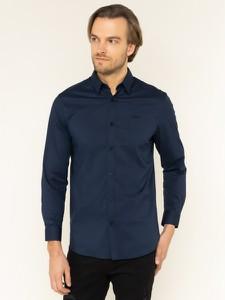 Granatowa koszula Guess z długim rękawem z klasycznym kołnierzykiem