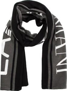 Czarny szalik EA7 Emporio Armani z wełny