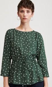 Zielona bluzka Reserved z okrągłym dekoltem w stylu boho z długim rękawem