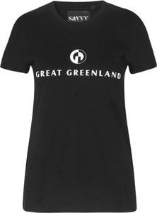 Czarny t-shirt Great Greenland z krótkim rękawem w młodzieżowym stylu z okrągłym dekoltem
