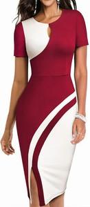 Czerwona sukienka Arilook z krótkim rękawem midi