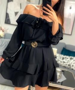 Czarna sukienka Smlfashion.pl z długim rękawem hiszpanka