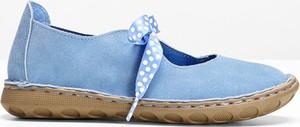 Błękitne półbuty bonprix bpc selection z płaską podeszwą w stylu casual