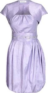 Fioletowa sukienka Fokus mini z krótkim rękawem